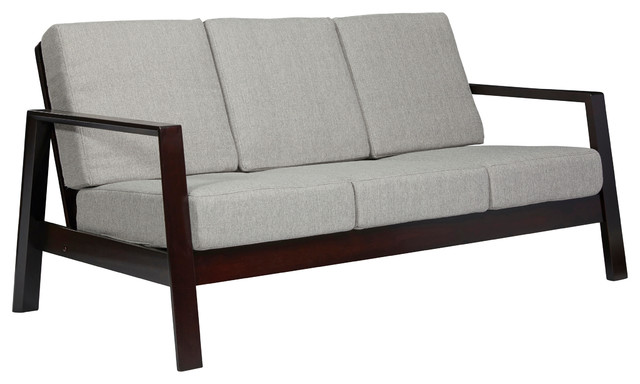 Carlyle Mid Century Modern Sofa With Exposed Wood Frame Dove Gray