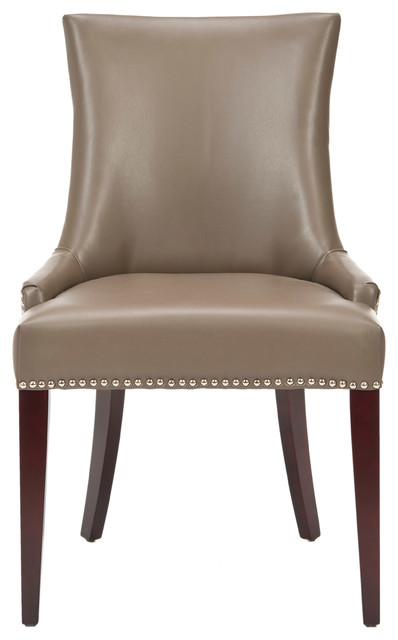 Becca Dining Chair With Silver Nail Heads, Clay, Material: Leather.