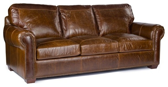 Attractive Anchor Bay Collection Top Grain Leather Sofa, Pecan Alligator Embossing  Transitional Sofas