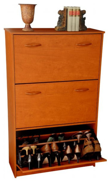 Shoe Cabinet-Three Drop Down Drawers-Cherry Finish, Cherry ...