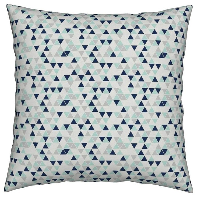 Remarkable Mint Triangles Geometric Navy Gray Baby Throw Pillow Cover Organic Sateen Gmtry Best Dining Table And Chair Ideas Images Gmtryco
