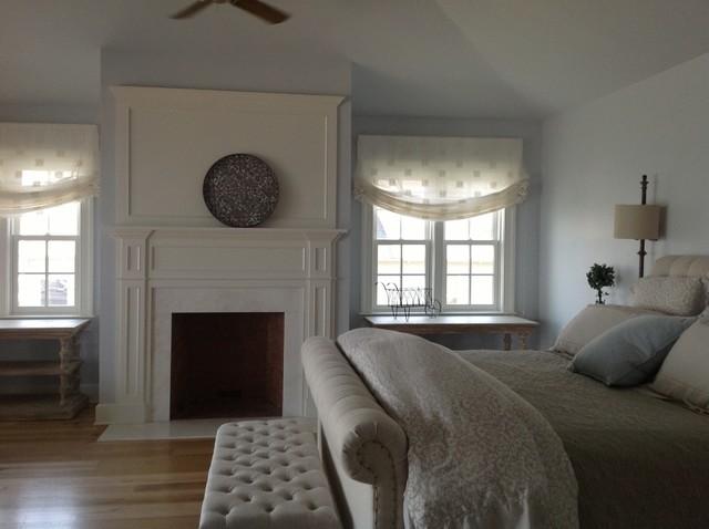 Master Bedroom Belgian Linen Roman Shades Panels Traditional