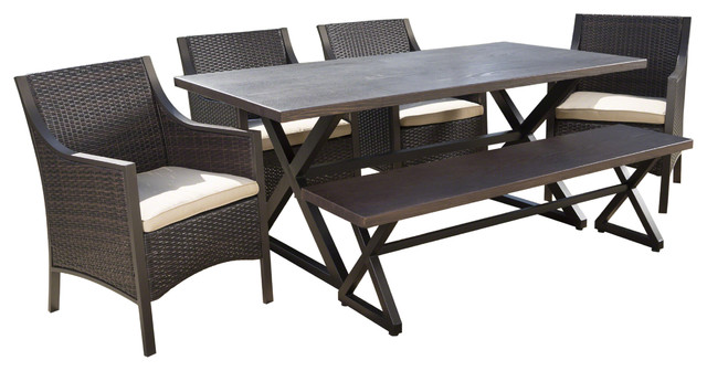 Fiona Outdoor 6 Piece Aluminum Dining Set With Bench And Wicker Dining  Chairs