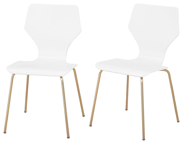 Ella Mid Century Modern Bentwood Dining Chairs, White, Set Of 2.