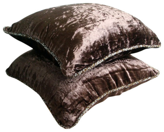 Solid Color Brown Velvet 16x16 Decorative Pillow Covers Dark Chocolate Shimmer