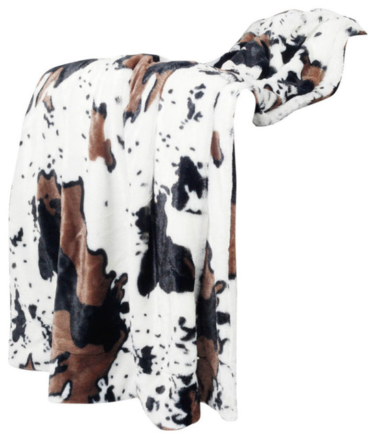 Cow Animal Print Double Sided Faux Fur Throws