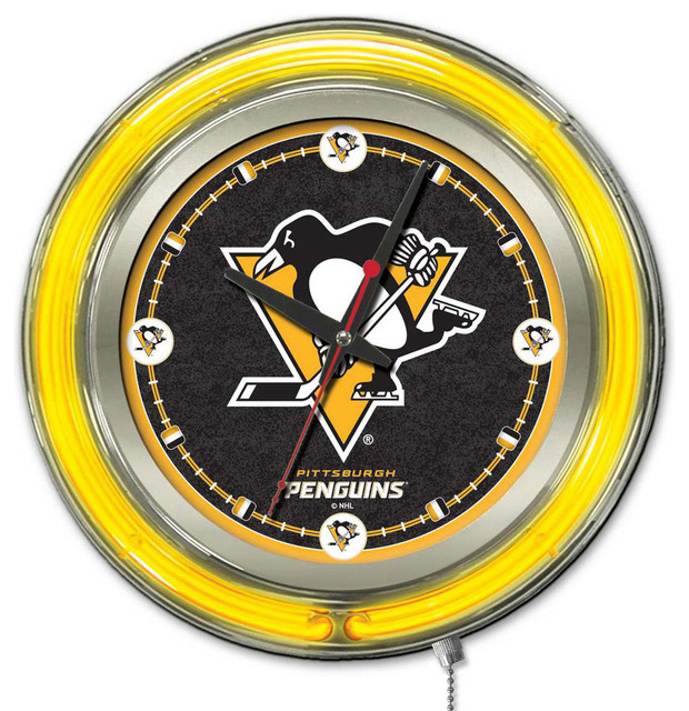 Pittsburgh Penguins Neon Light Clock Contemporary Wall