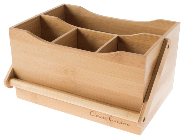 Bamboo Flatware Caddy- 4 Slot Portable Holder for Utensils by Classic Cuisine