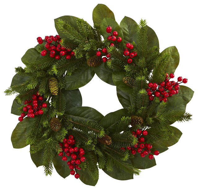 "24"" Magnolia Leaf, Berry And Pine Artificial Wreath."