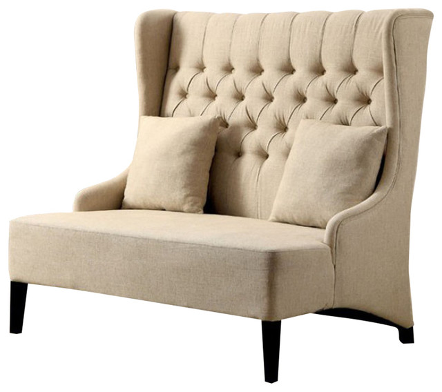 Lavre Contemporary Loveseat With Tufted High Back Ivory Flax Fabric.