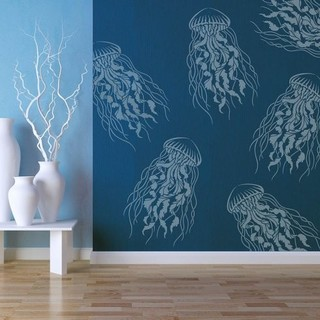Large Jelly Fish Nautical Stencil Reusable Stencils For Diy Wall Design Beach Style Wall