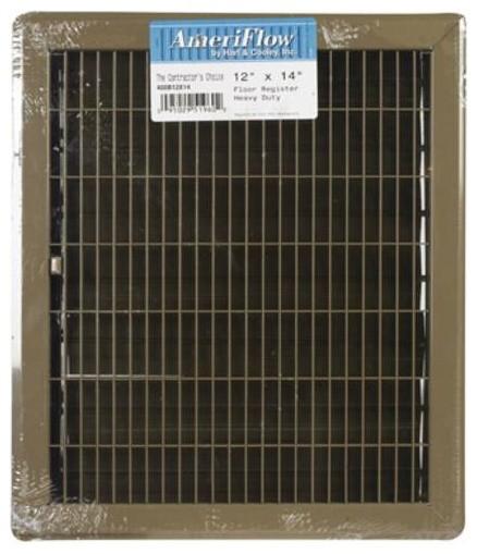"""American Metal Products Floor Register, Brown, 12""""x14""""."""