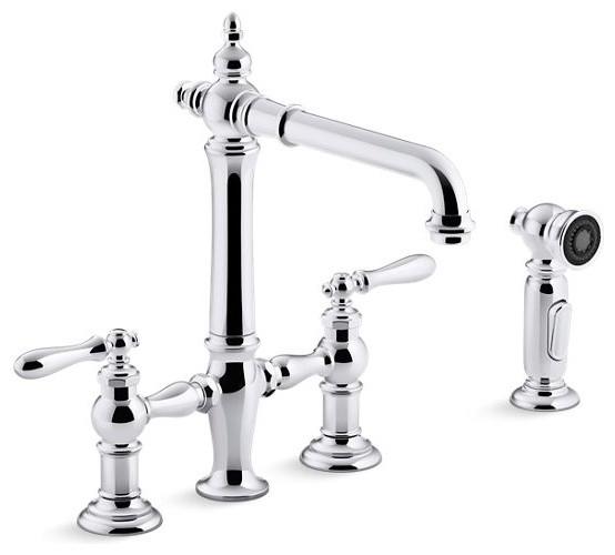 Kohler Artifacts Deck-Mount Bridge Kitchen Faucets & Sidespray, Polished  Chrome