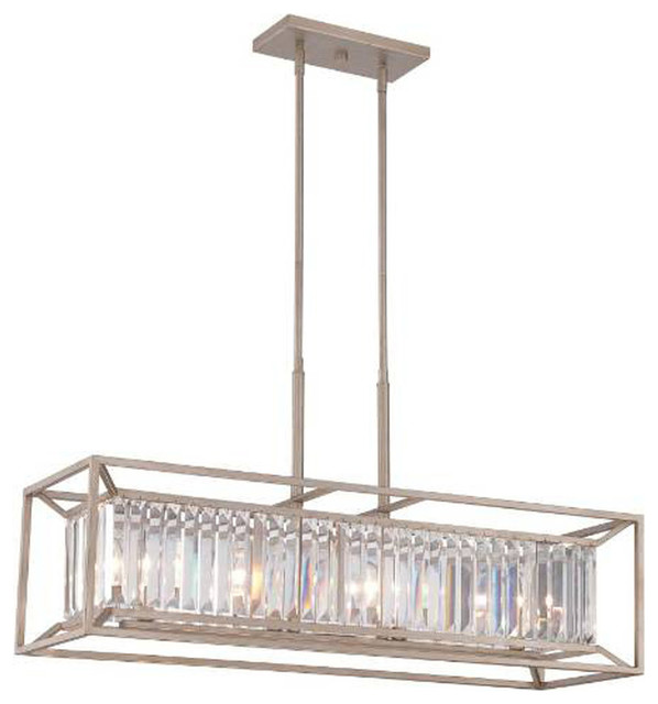 Linares 4 Light Linear Chandelier With Crystal Prisms