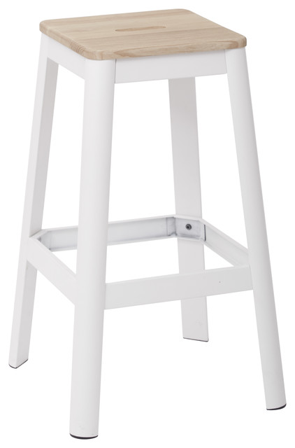 Hammond Metal Barstool With Lightwood Seat Frosted White