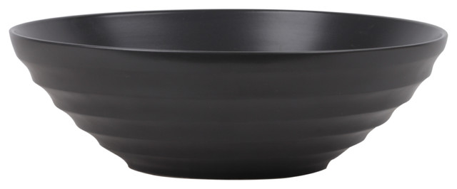 Ceramic Round Decorative Bowl With Ribbed Body and Tapered Bottom Coated
