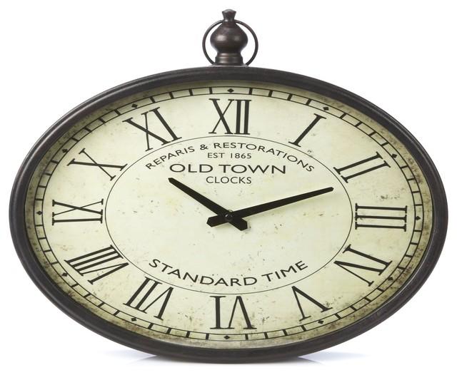 Gousset horloge ovale industriel horloge murale par alin a mobilier am - Horloge gousset murale ...