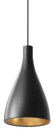 Pablo Designs Single Narrow Pendant Light, Black/brass.