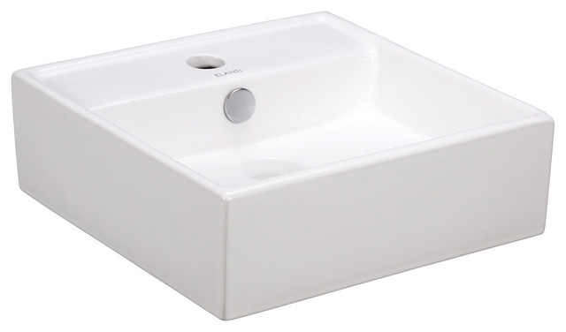 Porcelain White Wall-Mounted Square Sink