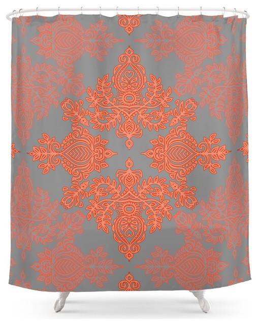 Society6 Burnt Orange Coral And Gray Doodle Pattern Shower Curtain Contemporary Shower