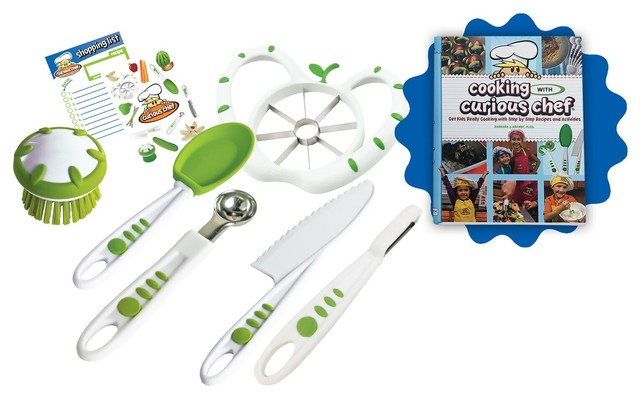 cooking with curious chef cookbook measuring spoons knife bundle 6 piece set contemporary. Black Bedroom Furniture Sets. Home Design Ideas