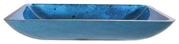 "22"" Irruption Blue Vessel Sink With Drain, Oil Rubbed Bronze"