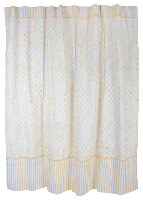 Parchment Check Shower Curtain Mackenzie Childs