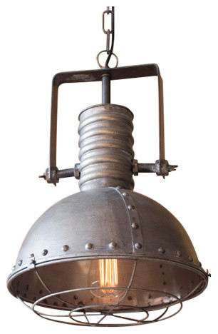 Metal Warehouse Pendant With Cage.