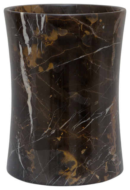 Vinca Collection Black And Gold Marble Waste Bin