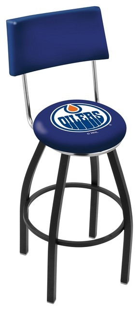 Phenomenal 25 Black Wrinkle Edmonton Oilers Swivel Bar Stool With A Back Alphanode Cool Chair Designs And Ideas Alphanodeonline