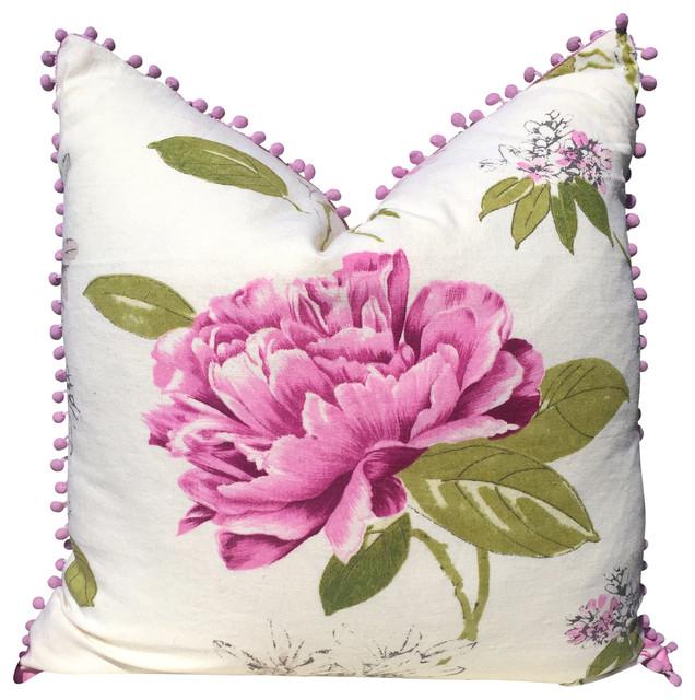 Floral Linen Pillow Cover, Lilac Pompoms.