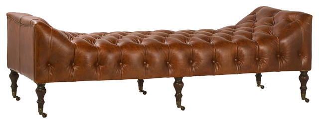 Tufted Chesterfield Leather Bench. -1