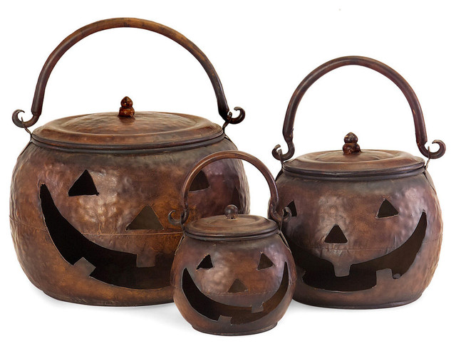 Jack 3-Piece Lidded Pumpkin Bucket Set.