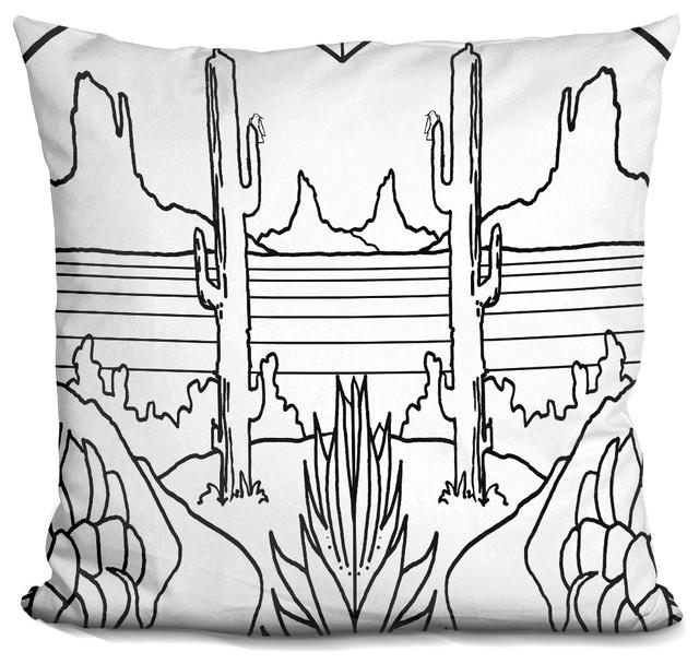 Desert Lineart Decorative Accent Throw Pillow.