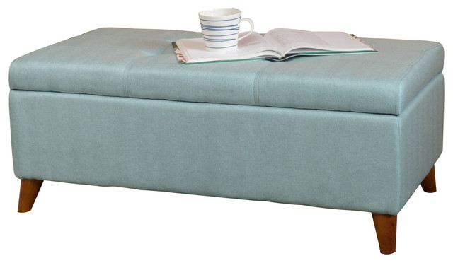 Etoney Contemporary Fabric Storage Ottoman, Teal  Midcentury Upholstered Benches