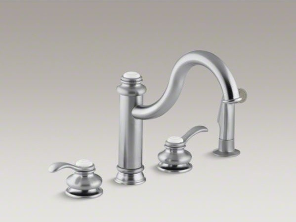 Kohler Fairfax R 4 Hole Kitchen Sink Faucet With 9 3 8 Spout Matching Finish Contemporary