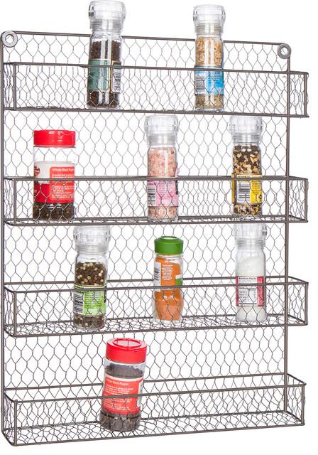 4-Tier Wire Spice Rack Storage Organizer - Wall Mount or Countertop