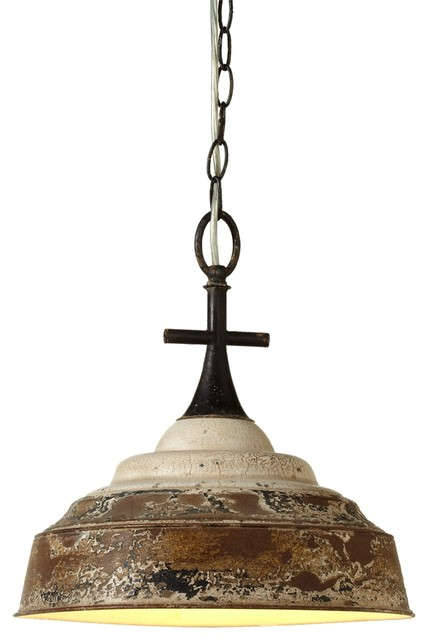 Lachrymose Distressed Metal Pendant Lamp White Rustic