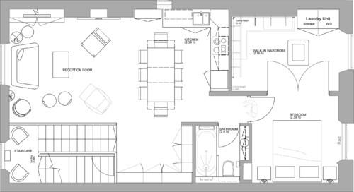 Dimensions of the reception room and dining/kitchen area