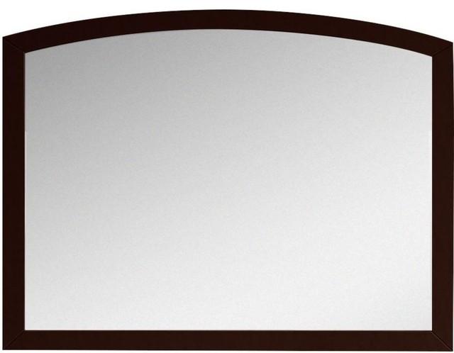 """Modern Birch Wood-Veneer Wood Mirror, Coffee, 35.43""""x25.6""""."""