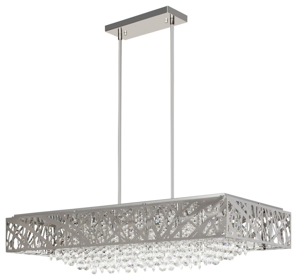 Finesse Decor Chrome Crystal Rectangle Chandelier