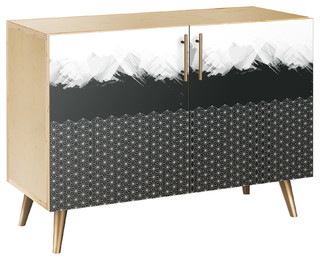 Starlight Abstraction Flare Credenza, Natural/Brass