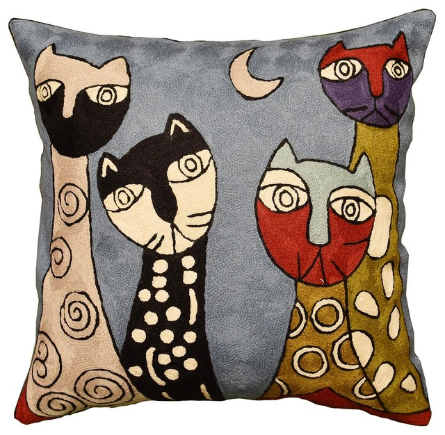 """Picasso Cat Pillow Cover Quadruplets II Hand Embroidered Wool 18x18"""""""