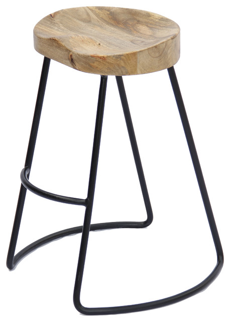 The Urban Port Brand Classy Wooden Barstool With Iron Legs, Long by Benzara, Woodland Imprts, The Urban Port