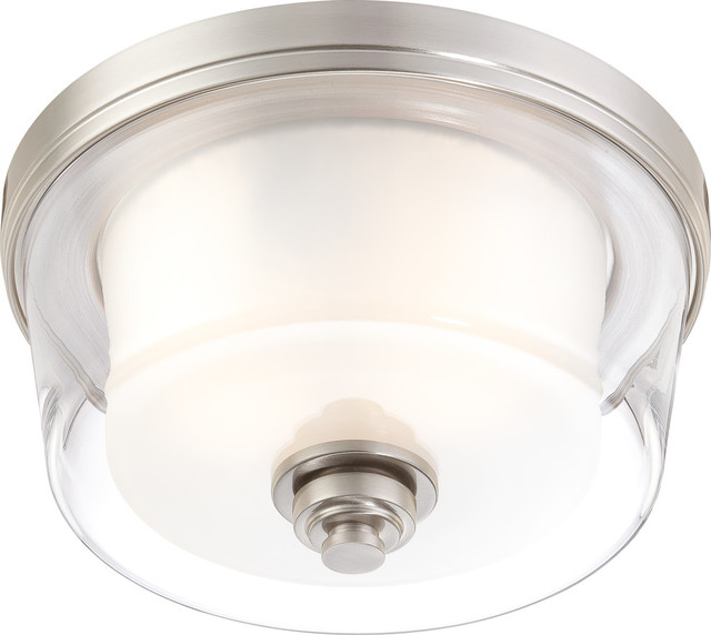 Decker 2 Light - Medium Flush Fixture With Clear And Frosted Glass.