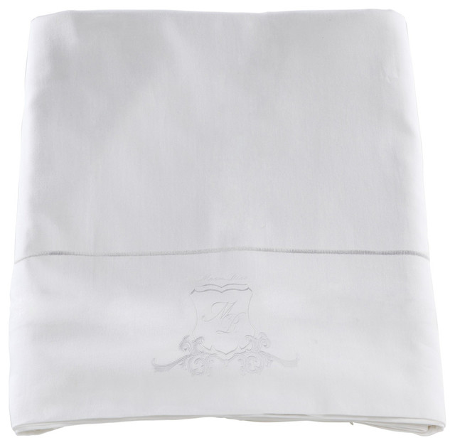 Pure White Sateen Flat Sheet Bedding Set, 270x270 cm