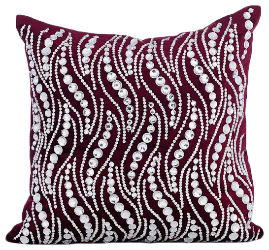 Crystals Bling Velvet Purple Pillow Covers Crystal Swirls Unique Bling Decorative Pillows