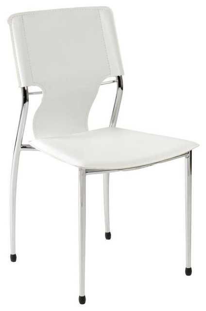Eurostyle terry side chair in white leatherette chrome for White chrome dining chairs