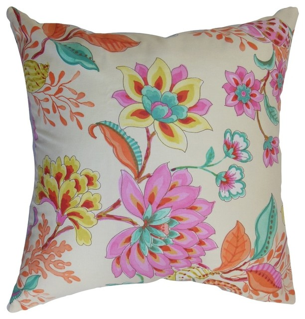 Pink Floral Decorative Pillows : Mahanoro Floral Pillow Pink - Contemporary - Decorative Pillows - by The Pillow Collection