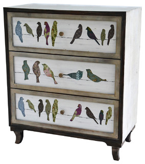 Birds on A Wire 3-Drawer Painted Chest